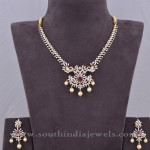 Simple Gold Stone Necklace Sets with Earrings