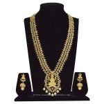 Gold Plated Lakshmi Haram with Matching Jhumka
