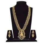 Gold Plated Lakshmi Haram with Matching Jhumka