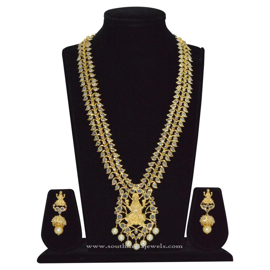 Gold Covering Lakshmi Stone Necklace Rs9100