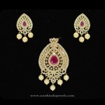 Gold Plated CZ Stone Pendant Set