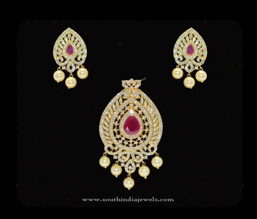 Gold plated cz stone pendant set south india jewels gold plated cz stone pendant set mozeypictures Gallery