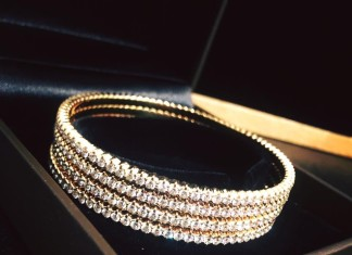 Simple Gold Diamond Bangles