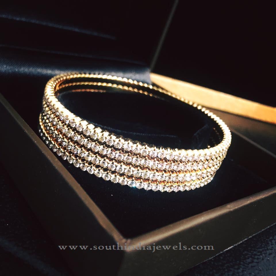 Simple Gold Diamond Bangles