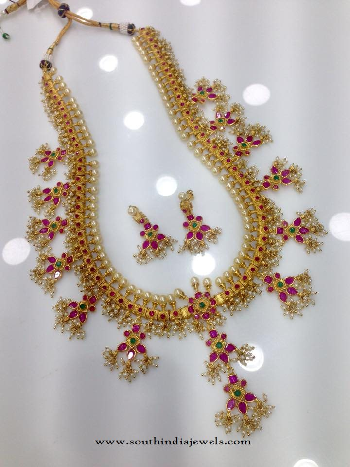 1 Gram Gold Long Guttapusalu Haram Design