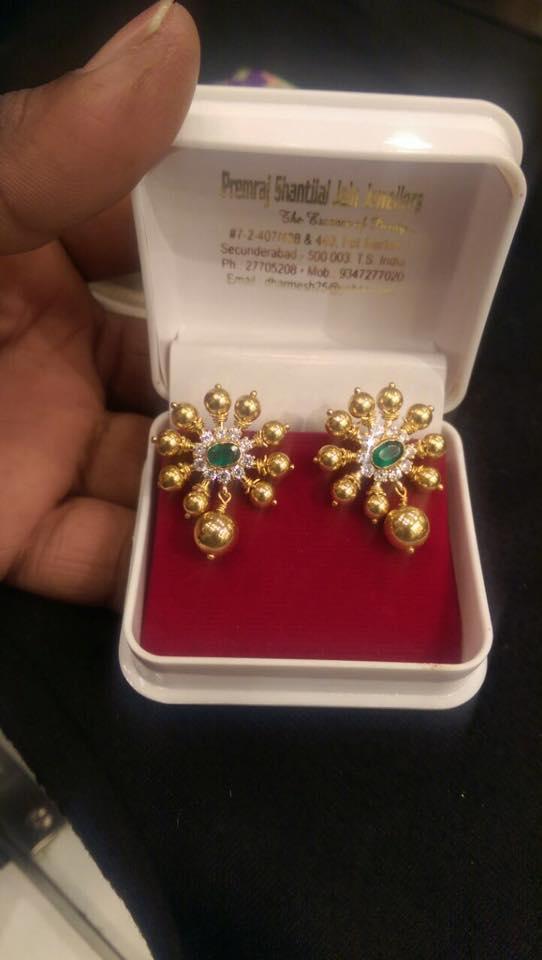 10 Grams Gold CZ Ear Stud