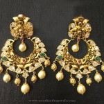 22K Gold Antique Chandbali Earrings