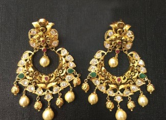 Gold Antique Chandbali Earrings 2016
