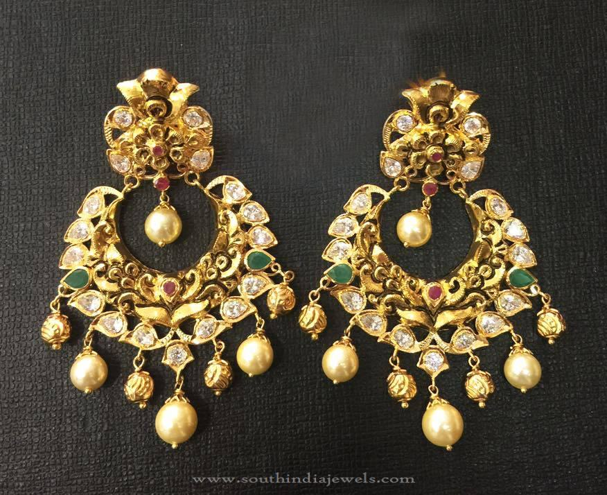 Gold Antique Chandbali Earrings 2016