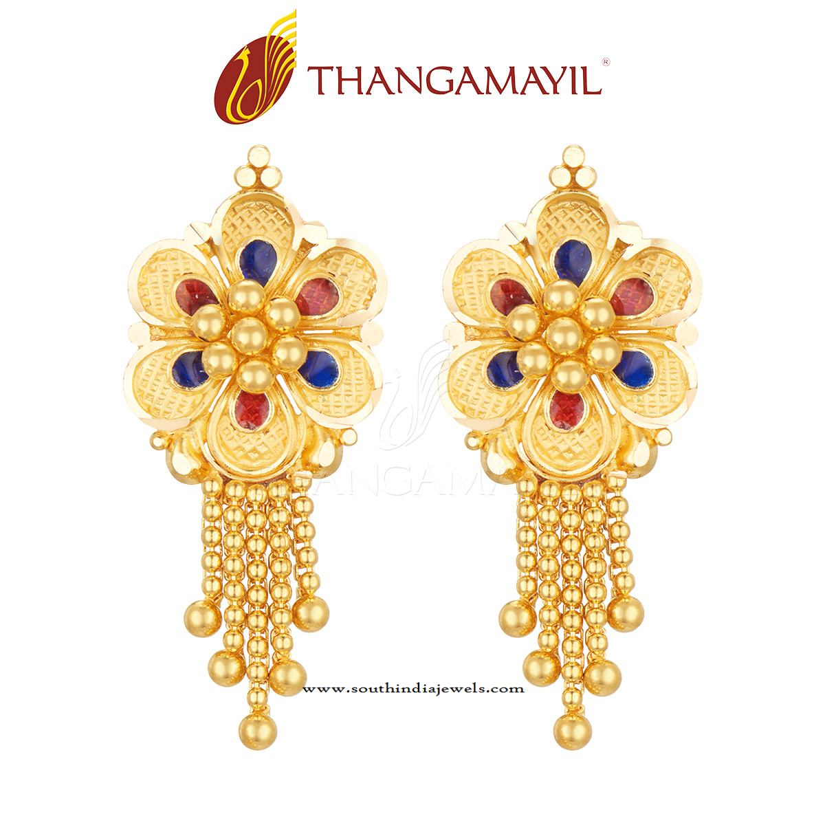 Gold Ruby Earring Design ~ South India Jewels