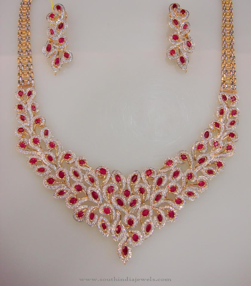 Designer Gold CZ Stone Necklace Set