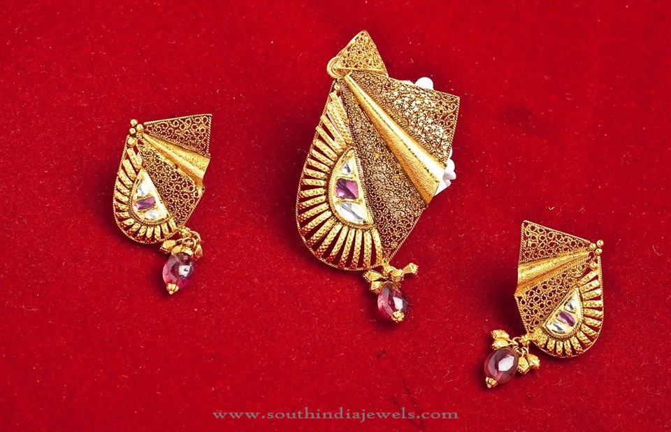 Gold designer pendant set model south india jewels gold designer pendant set model aloadofball Image collections