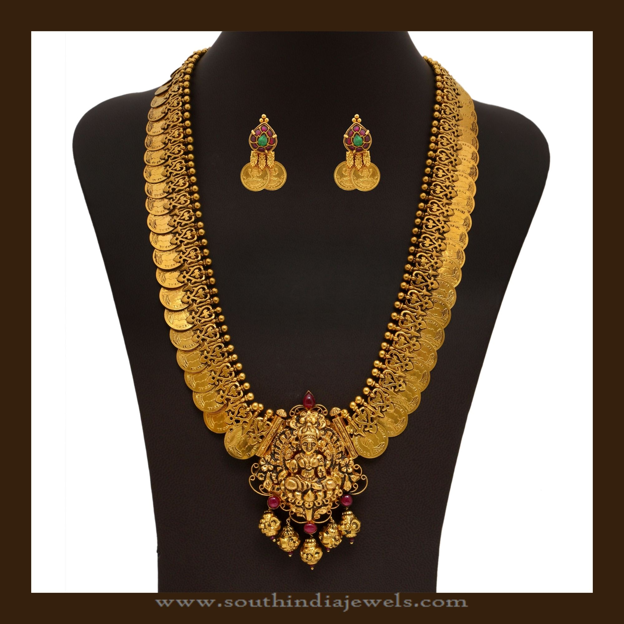 Gold Bridal Kasumalai Necklace Set South India Jewels