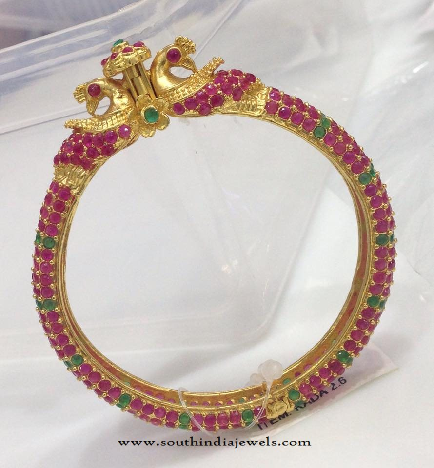 Gold Plated Ruby Kada Bangle