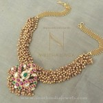 Gold Antique Clustered Bead Necklace