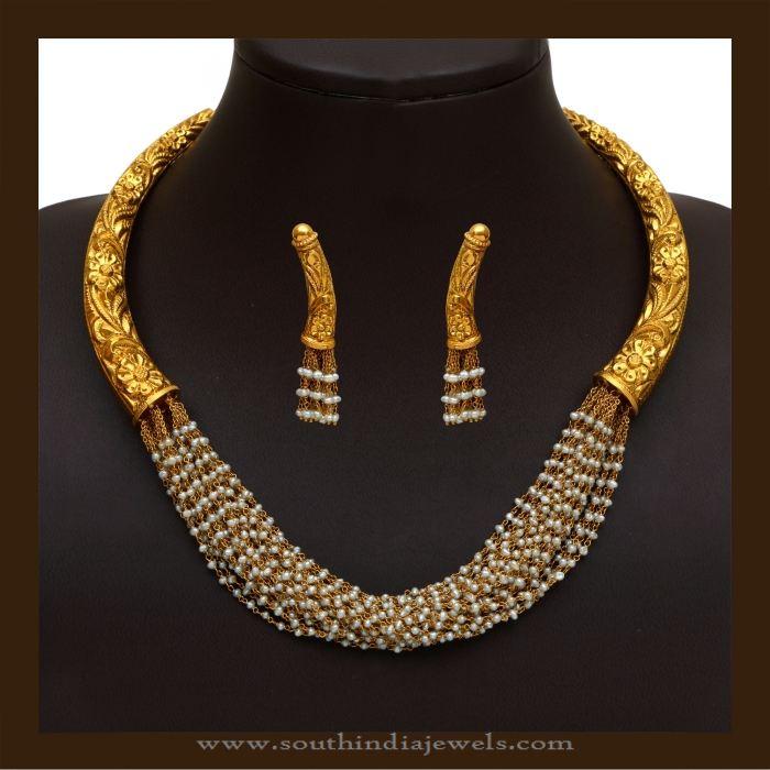 Gold Antique Designer Pearl Necklace Set