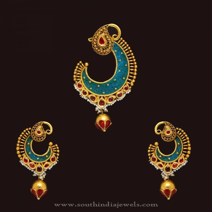 gold designer antique pendant set south india jewels