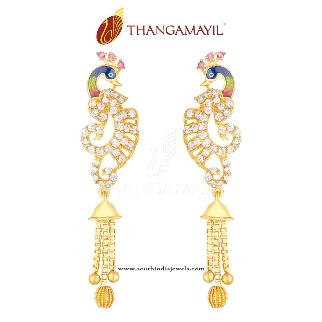 Gold Earring Hangings Design