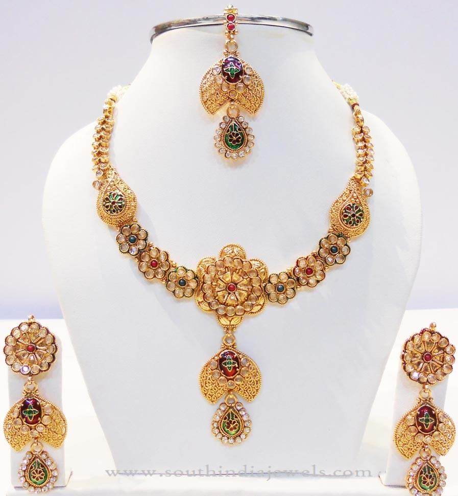 Gold Floral Necklace Set from Kamadenu Jewellery