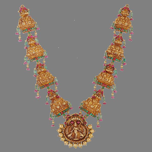 Gold Antique Long Haram from Kamadenu Jewellery