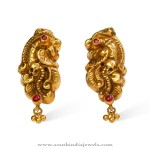 Gold Antique Earrings from Bhima Jewellers