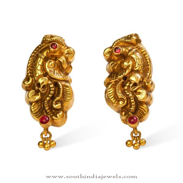 Gold Nakshi Ear Studs from Bhima Jewellers