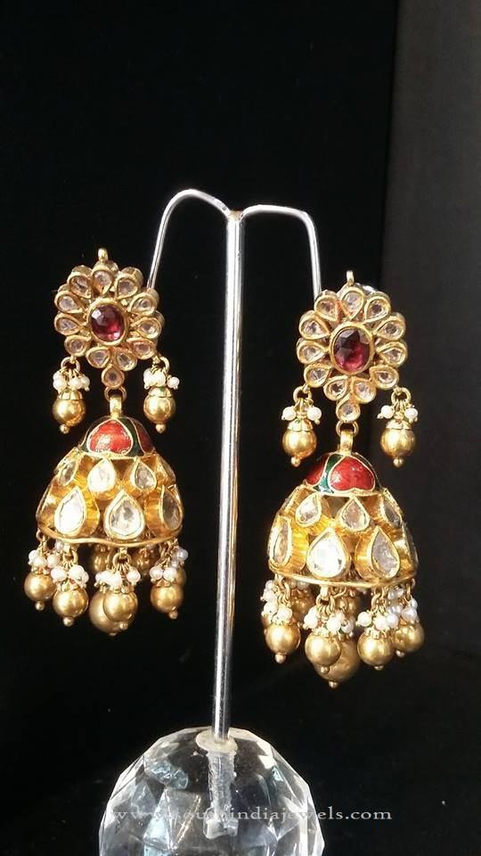 Indian Bridal Kundan Jhumka Earrings