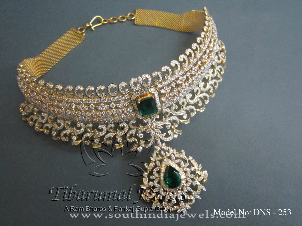New Model Gold Diamond Choker Necklace South India Jewels