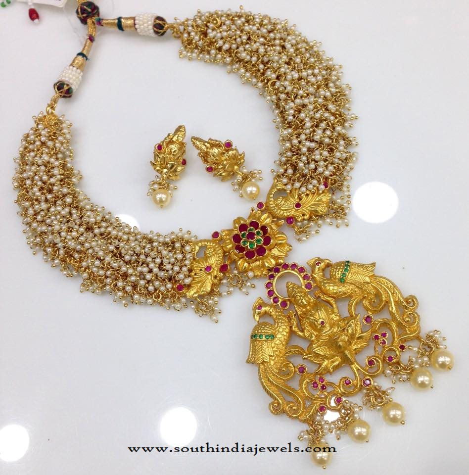 Pearl Clustered Temple Necklace from Swarnakshi