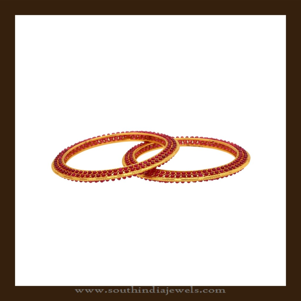 Latest Model Gold Ruby Beaded Bangle