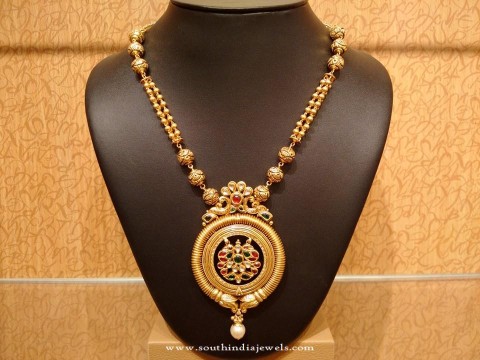 Light Weight Gold Antique Necklace Design