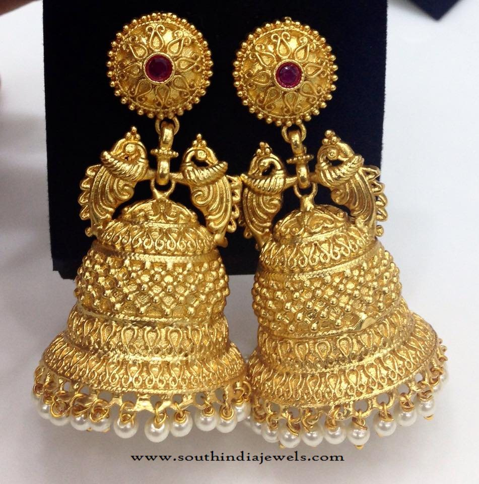 Gold Plated Matt Finish Jhumka South India Jewels