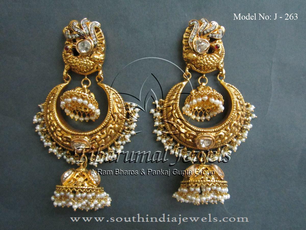 Gold Jhumka Designs from Tibarumal Jewels ~ South India Jewels