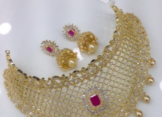 One Gram Gold AD Choker With Jhumka