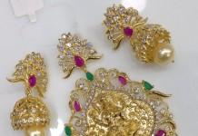 One Gram Gold AD Lakshmi Pendant