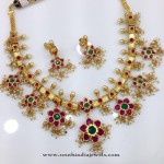 One Gram Gold Ruby Guttapusalu Necklace Model