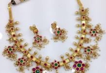 One Gram Gold Ruby Guttapusalu Necklace Model