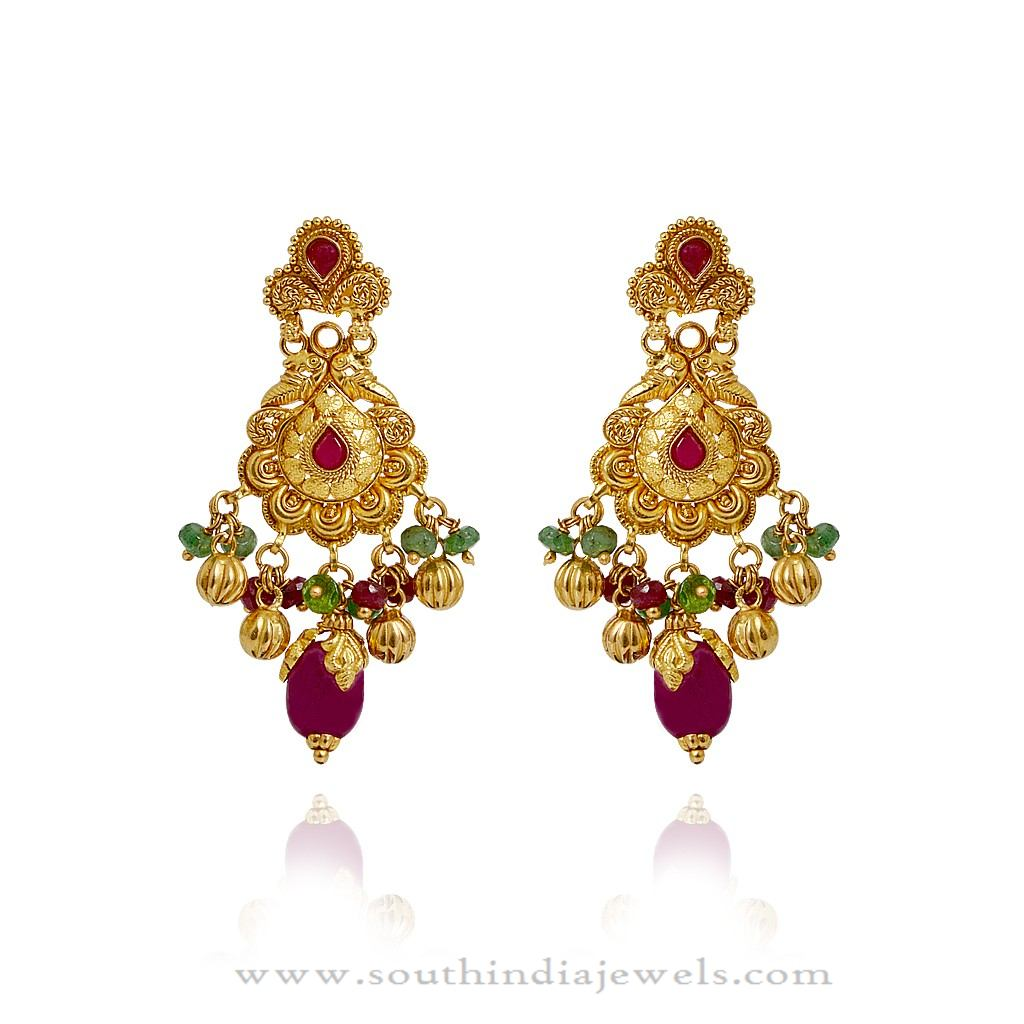gold indian chandelier earrings