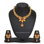 1 Gm Gold Designer Floral Necklace and Earrings