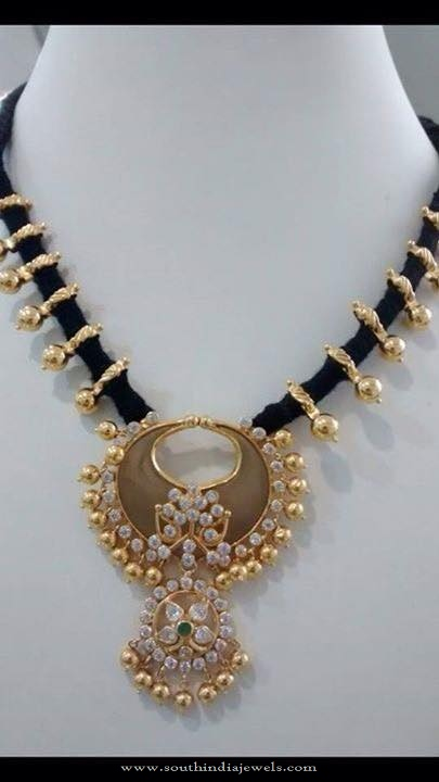22K Gold Dori Black Thread Necklace