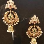22K Gold Chandbali Earrings with Jhumka