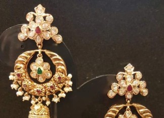22K Gold Chandbali Jhumka Earrings