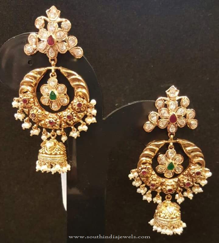 22k Gold Chandbali Earrings With Jhumka South India Jewels