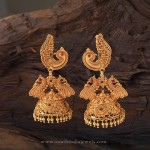 22K Gold Antique Peacock Jhumka