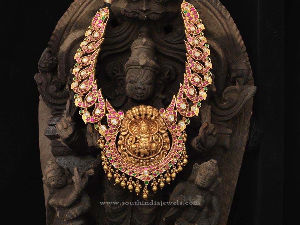 Indian Antique Gold Kemp Necklace Design