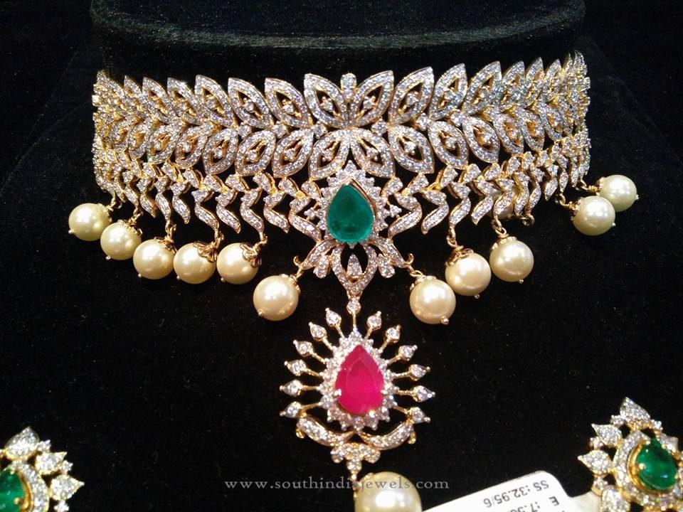 Diamond Pearl Choker Necklace