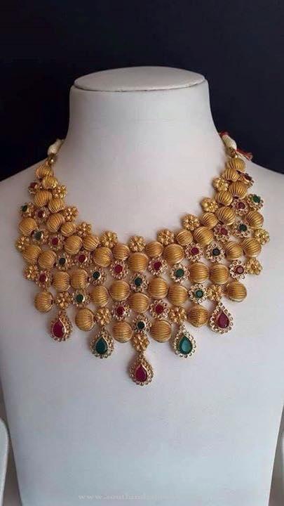 Gold CZ Stone Choker Necklace