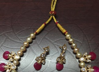 Gold Pearl Ruby Necklace Set 2016