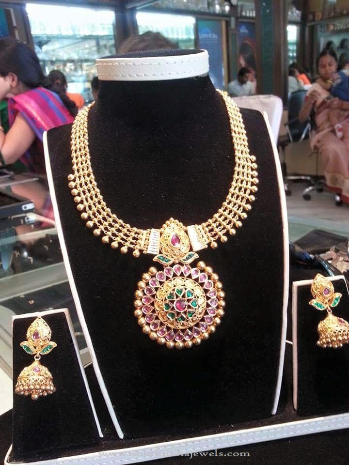 Gold Antique Necklace with Jhumka