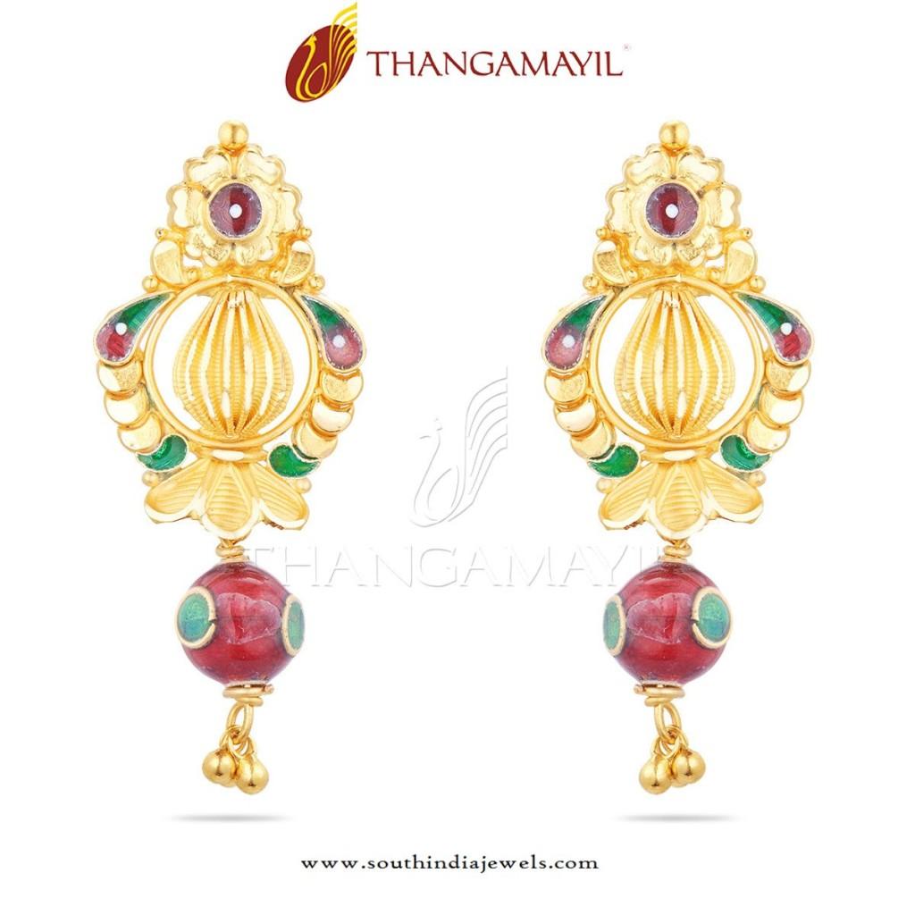 22K Gold Enamel Earrings